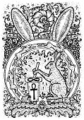 Rabbit symbol. Hare with mortar and pestle, baroque and floral decorations