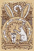 Rabbit symbol on old texture background. Hair with mortar and pestle, baroque and floral decorations in fire circle