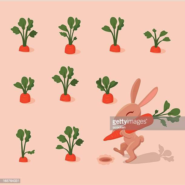 kaninchen und karotten - osterhase stock-grafiken, -clipart, -cartoons und -symbole