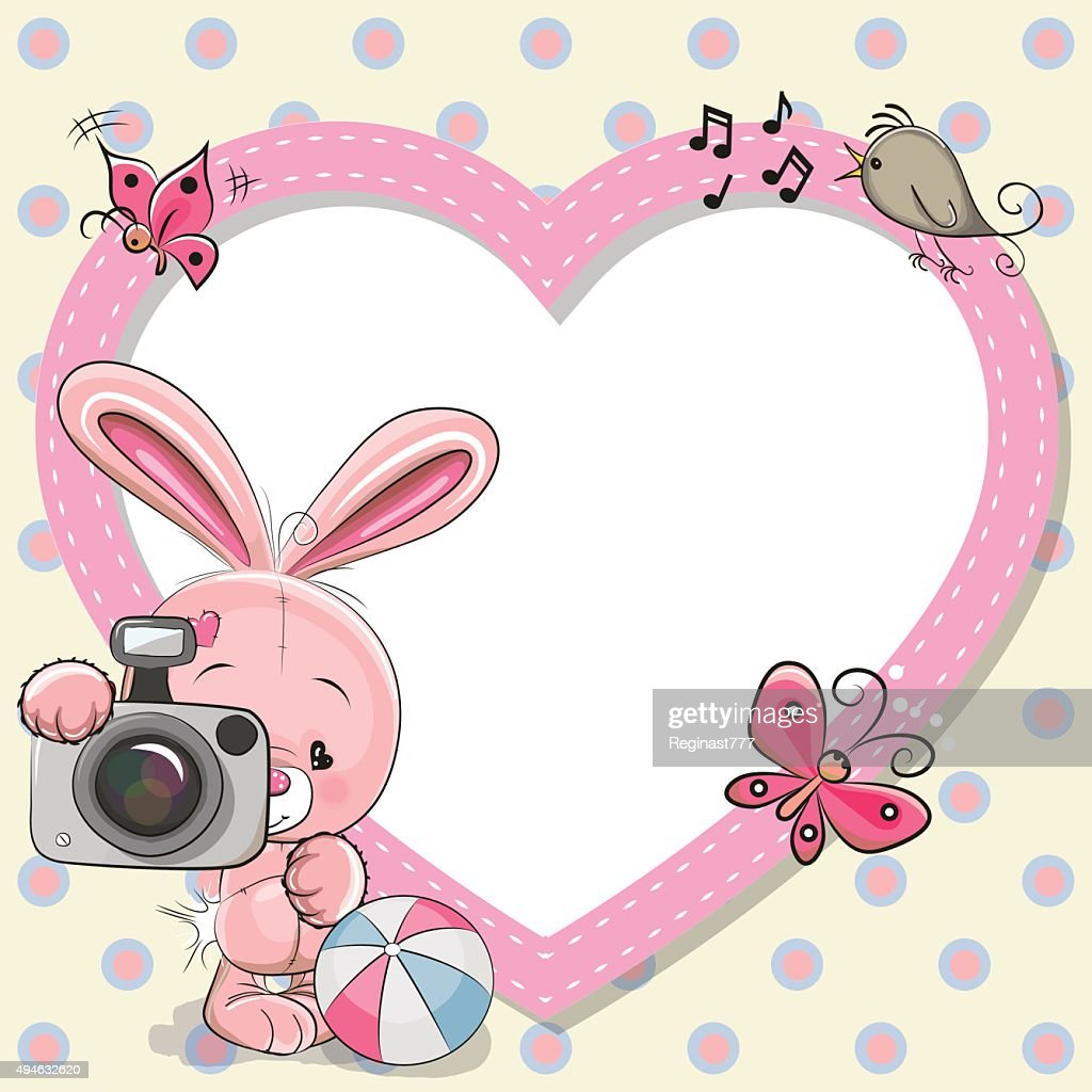 Rabbit with heart frame