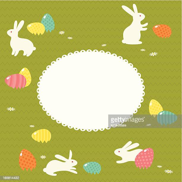 rabbits and easter eggs - easter egg hunt stock illustrations, clip art, cartoons, & icons