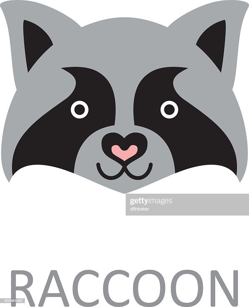 Raccoon face - design template.
