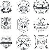 Race Bikers Garage Repair Service Emblems