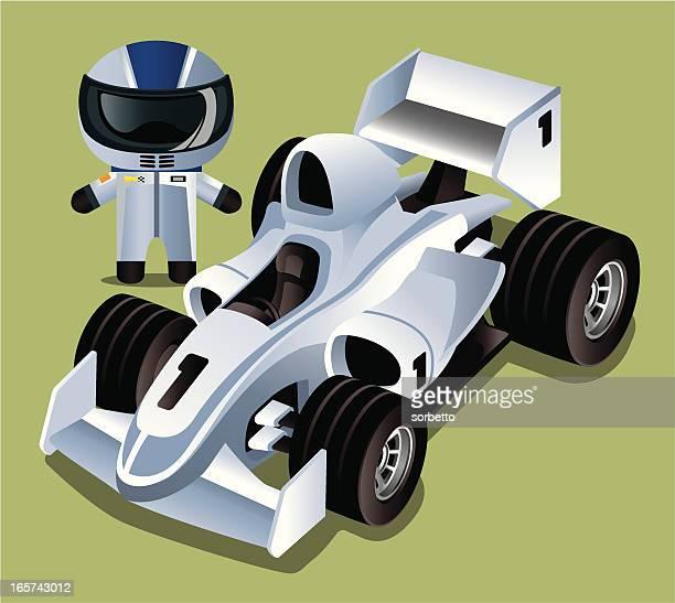 race car and driver - race car driver stock illustrations, clip art, cartoons, & icons