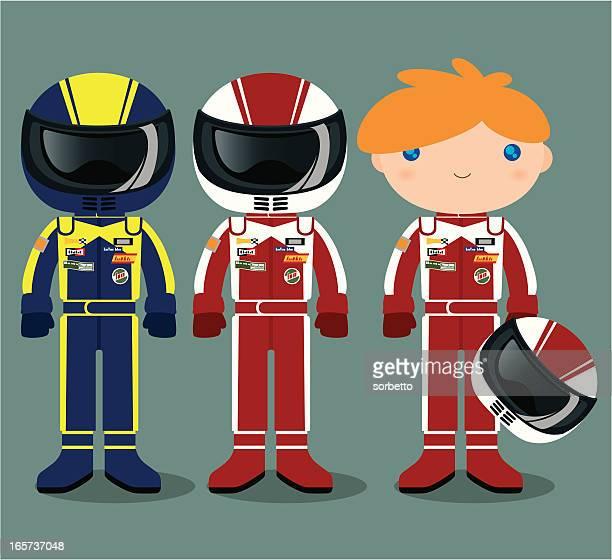 illustrazioni stock, clip art, cartoni animati e icone di tendenza di pilota di auto da corsa - pilota di auto da corsa