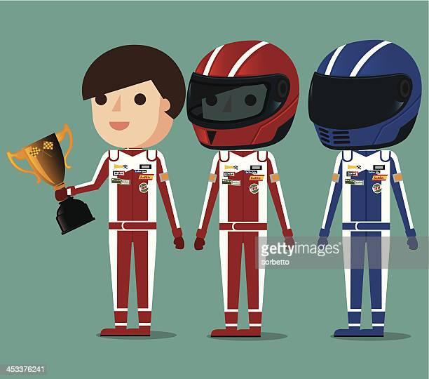 ilustraciones, imágenes clip art, dibujos animados e iconos de stock de piloto de coches de carrera - piloto de coches de carrera