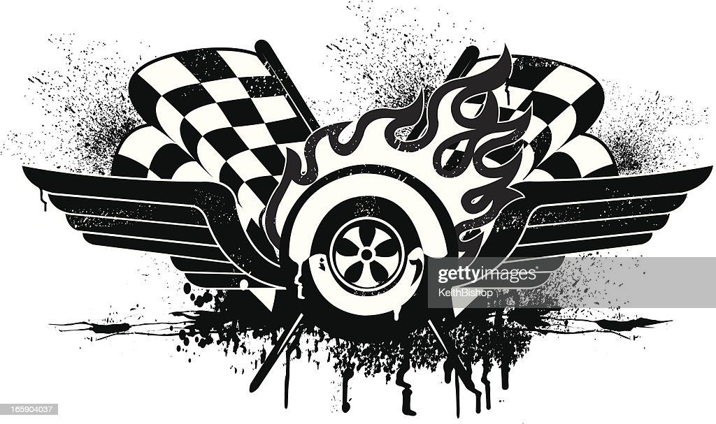 Race Car Grunge Graphic with Checkered Flags