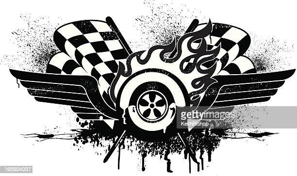 race car grunge graphic with checkered flags - tire vehicle part stock illustrations, clip art, cartoons, & icons