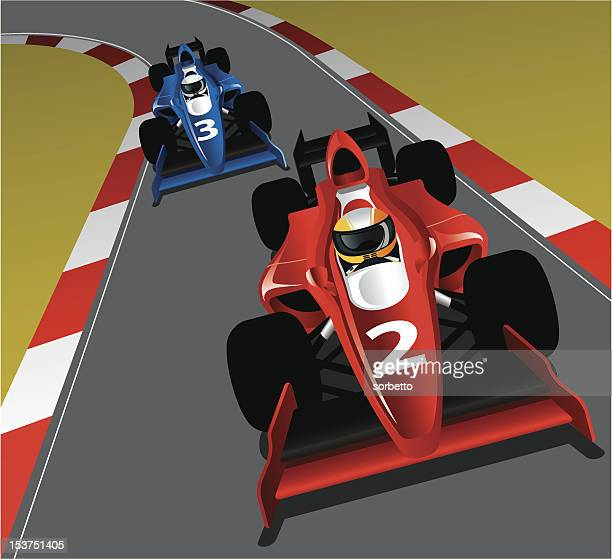 race car on the track - race car stock illustrations, clip art, cartoons, & icons