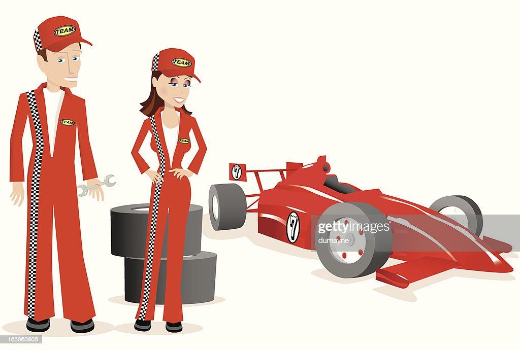Race car team mechanics and indy car