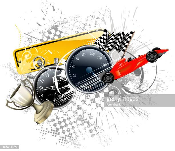 Race car-themed illustration background with checkered flags