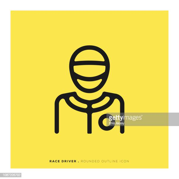 race driver rounded line icon - race car driver stock illustrations, clip art, cartoons, & icons