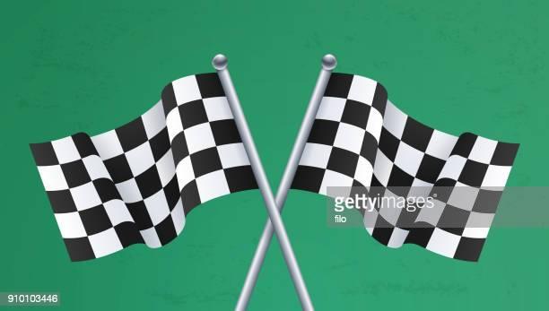 ilustraciones, imágenes clip art, dibujos animados e iconos de stock de carrera final banderas a cuadros - circuito de carreras de coches