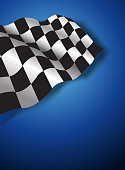 Race flag in blue background