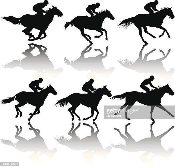race horse silhouettes - racehorse stock illustrations