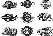 Race logos with pictures of different cars wheels