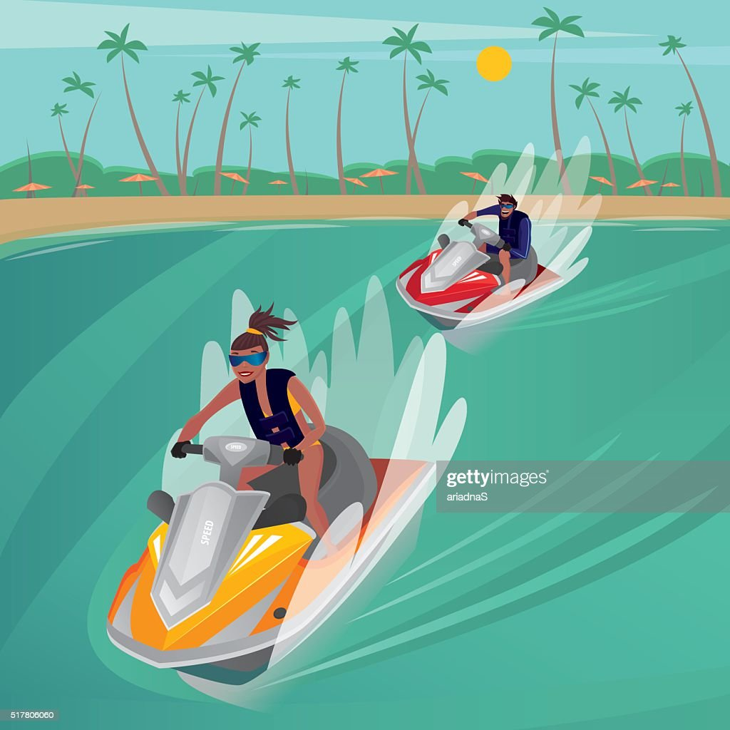 Race on water scooters
