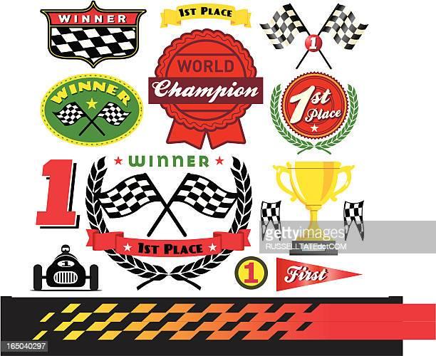 race winner icons - checkered flag stock illustrations