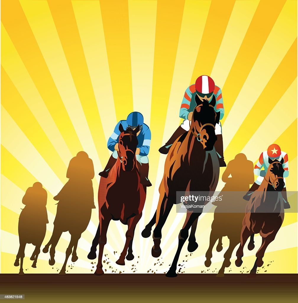 Racehorses Galloping on the Racing Track - Front View : Stock Illustration