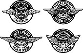 Racer emblems. Set of winged emblems with skulls. Design elements for biker club, racer community label, sign. Vector illustration
