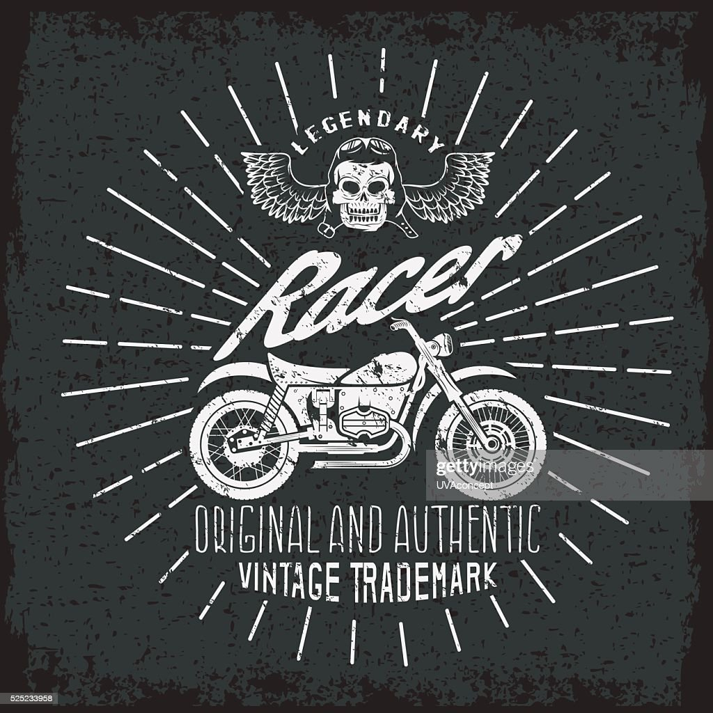 racer grunge vintage print with motorcycle, wings and skull