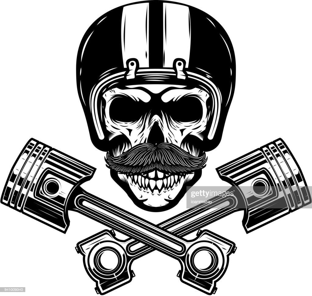 Racer skull with crossed pistons. Design element for emblem, sign, poster, t shirt.