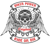 Racer skull with wings and two crossed pistons. Biker power. Ride or die. Design element for poster, t-shirt, emblem. Vector illustration
