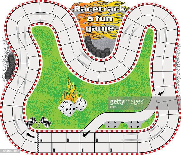 ilustraciones, imágenes clip art, dibujos animados e iconos de stock de hipódromo de un juego divertido - circuito de carreras de coches