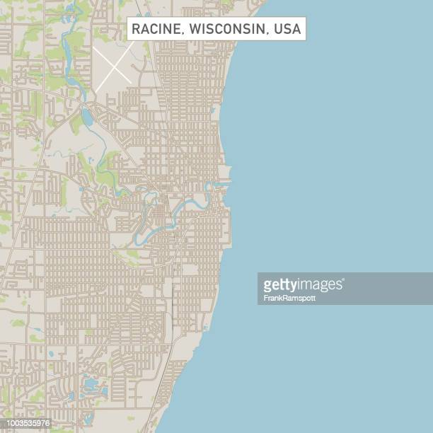 Racine Wisconsin US City Street Map