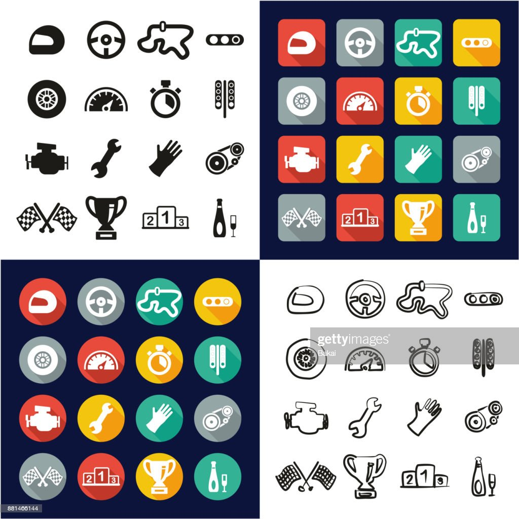 Racing All in One Icons Black & White Color Flat Design Freehand Set