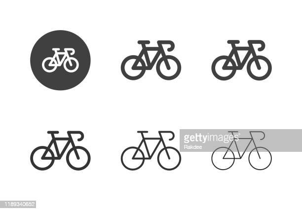 racing bicycle icons - multi series - bicycle stock illustrations