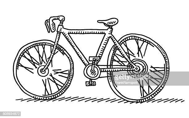 racing bicycle side view drawing - racing bicycle stock illustrations