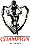 racing bike with grunge shield