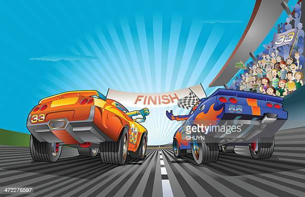 racing car fight - race car stock illustrations, clip art, cartoons, & icons