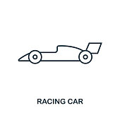 Racing Car outline icon. Simple element illustration. Racing Car icon in outline style design from sport equipment collection. Perfect for web design, apps, software, print.