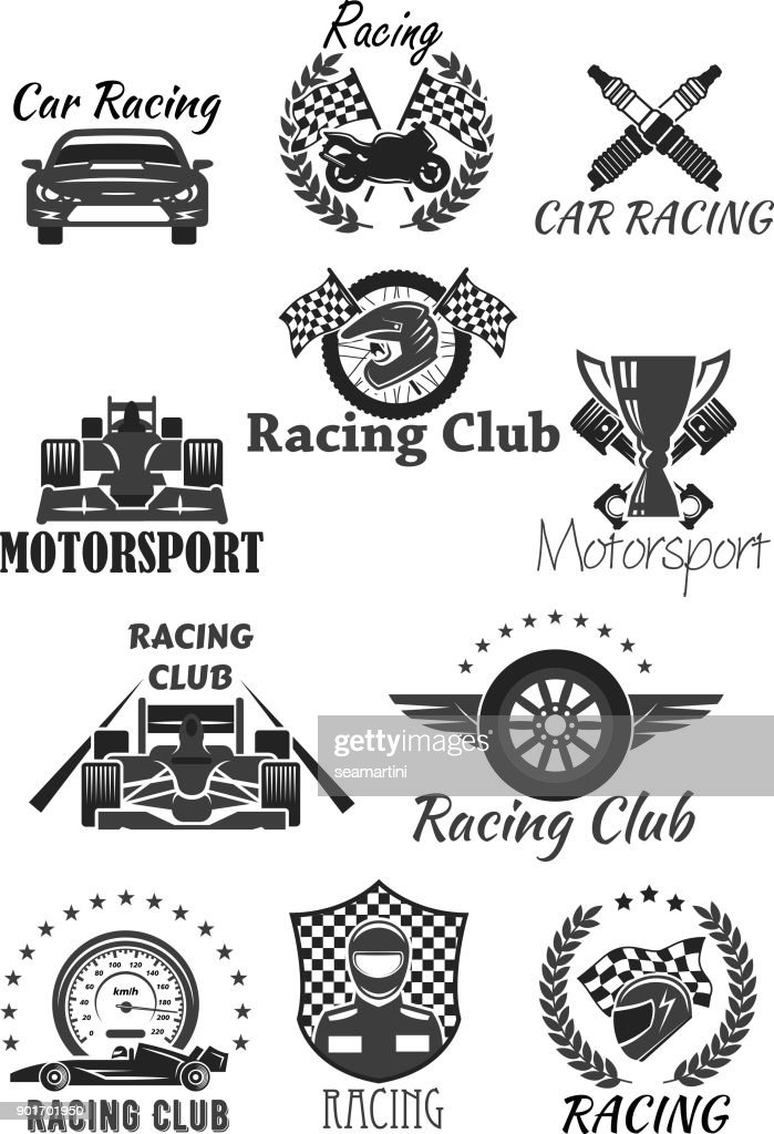 Racing club and motorsport isolated symbol set