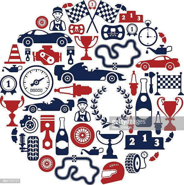 racing collage - race car stock illustrations, clip art, cartoons, & icons