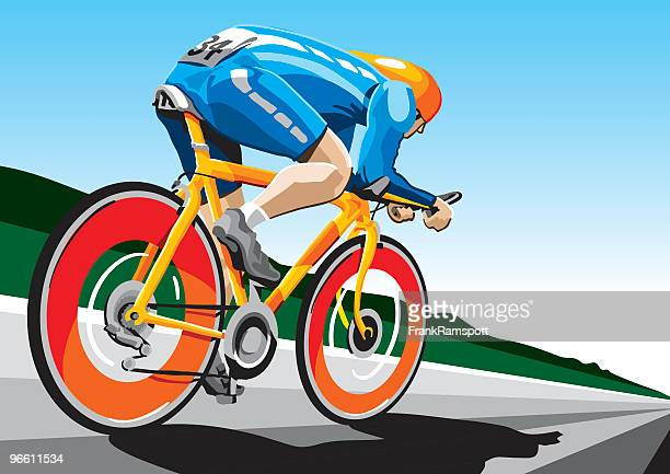 racing cyclist hi-speed - cycling event stock illustrations