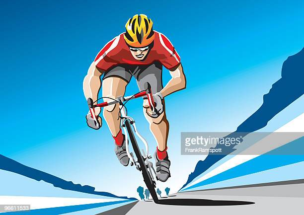 racing cyclist red - bicycle stock illustrations