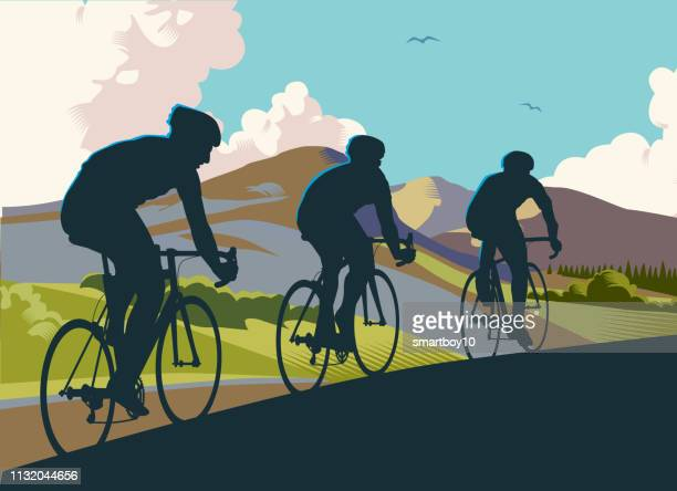 racing cyclists - bicycle stock illustrations