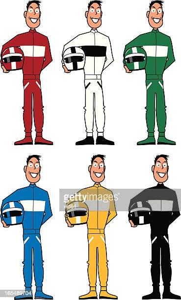 ilustraciones, imágenes clip art, dibujos animados e iconos de stock de controladores de carreras - piloto de coches de carrera