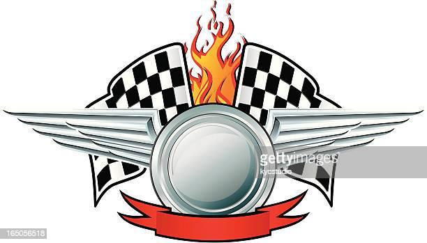 Racing emblem fire winner