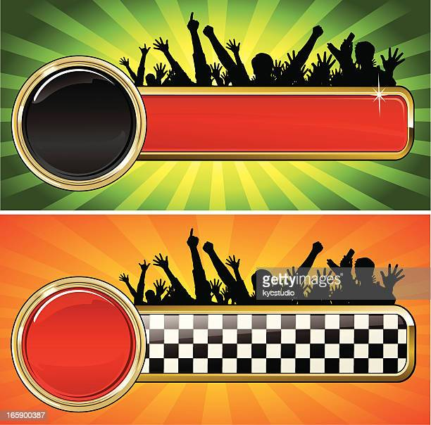 racing emblem with fans - rally car racing stock illustrations, clip art, cartoons, & icons
