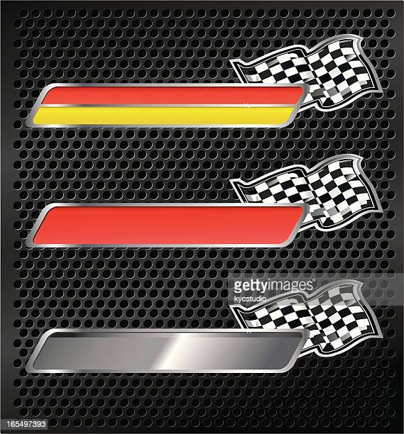 racing emblems with checkered flags - award plaque stock illustrations, clip art, cartoons, & icons
