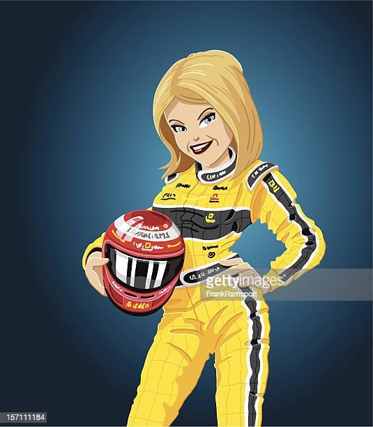 racing girl yellow - race car driver stock illustrations, clip art, cartoons, & icons