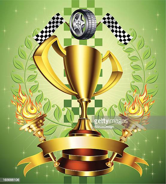 racing gold trophy - rally car racing stock illustrations, clip art, cartoons, & icons