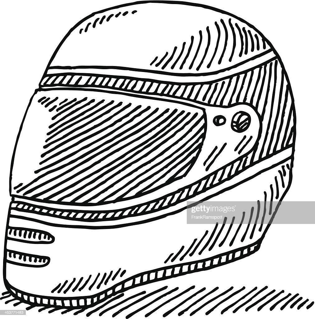 Racing Helmet Drawing : stock illustration