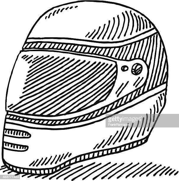 racing helmet drawing - motorcycle helmet isolated stock illustrations, clip art, cartoons, & icons
