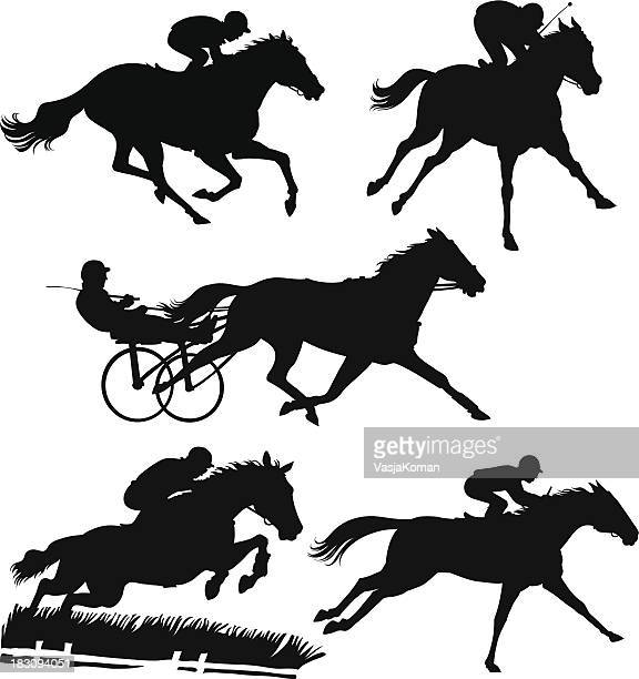racing horses silhouettes - horse stock illustrations