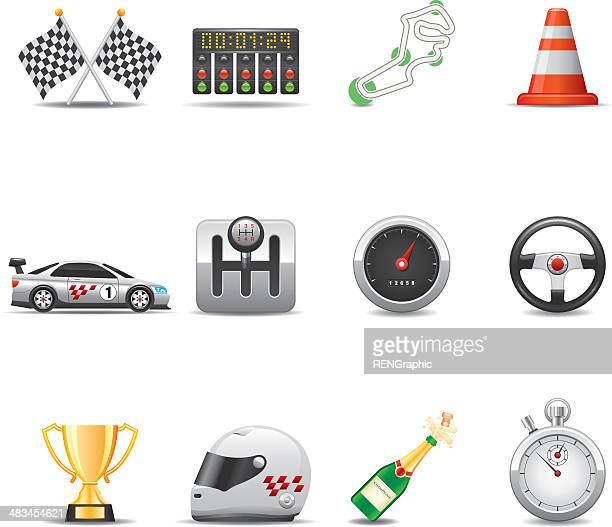 racing icon set | elegant series - motorcycle helmet isolated stock illustrations, clip art, cartoons, & icons